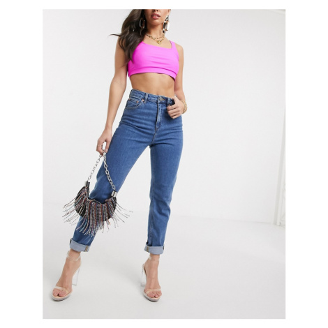 ASOS DESIGN Recycled Farleigh high waist slim mom jeans in dark wash-Blue