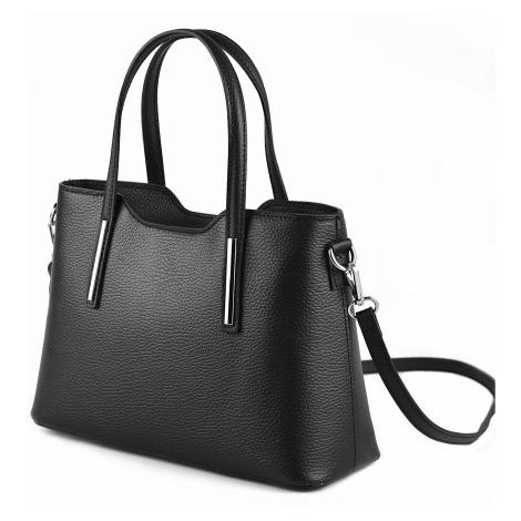 Dámská elegantní kožená malá kabelka černá, 32 x 12 x 22 (IT00-EL4009-09DOL)