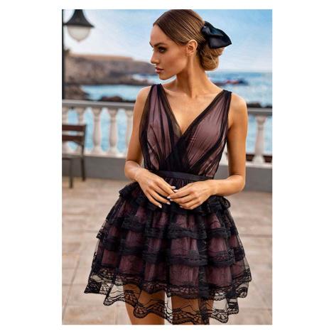 Béžovo-černé krátké krajkové šaty Lola
