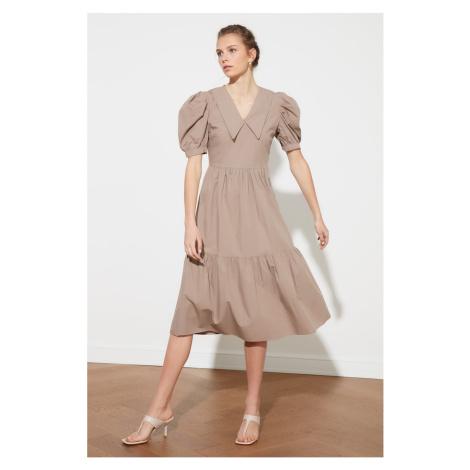 Trendyol Camel Collar Detailed Balloon Sleeve Dress