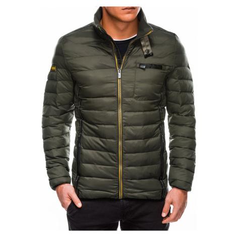 Pánská prošívaná přechodová bunda C359 khaki Ombre Clothing