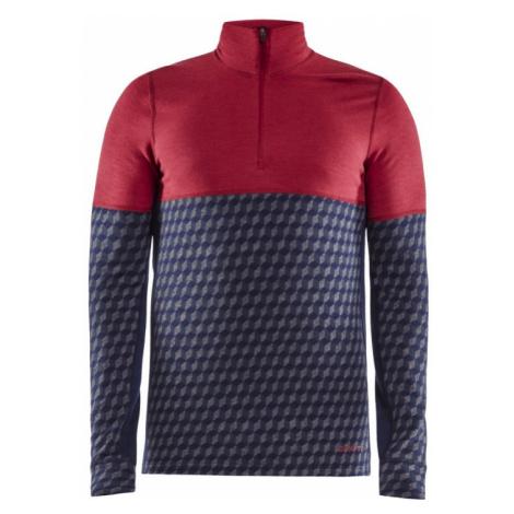 Pánské tričko CRAFT Merino 240 Zip LS červená/modrá