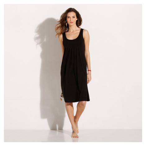 Blancheporte Jednobarevné šaty s kulatým výstřihem černá