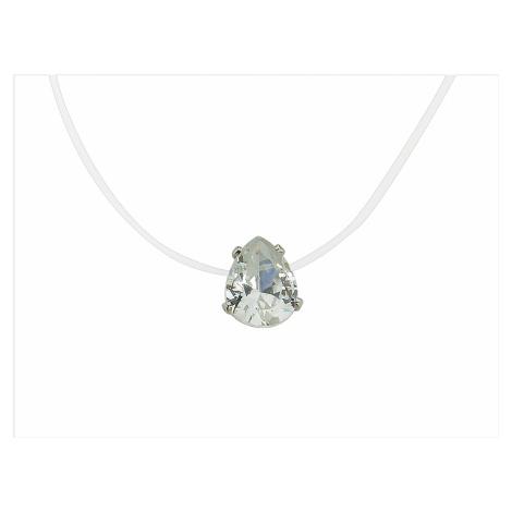 Linda's Jewelry Náhrdelník silikonová struna se zirkonem Kapka INH050