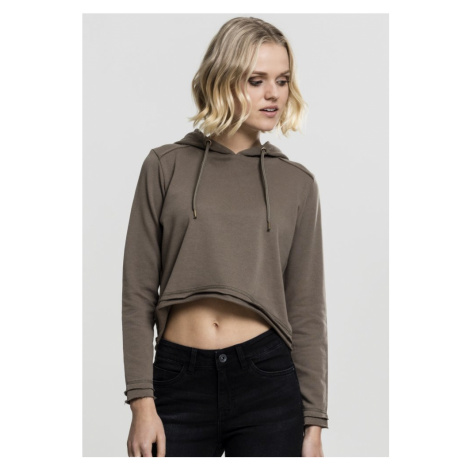 Ladies Cropped Terry Hoody - army green Urban Classics
