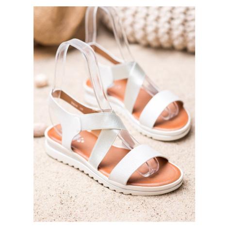 Komfortní  sandály bílé dámské bez podpatku WEIDE