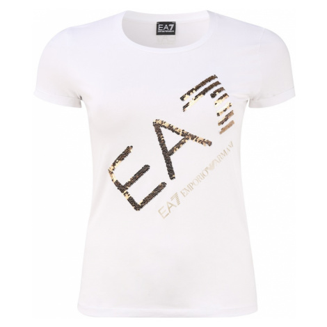 EA7 Emporio Armani Tričko bílá / zlatá