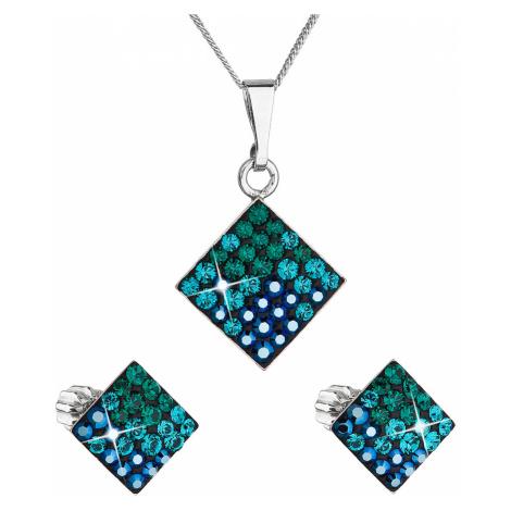 Sada šperků s krystaly Swarovski náušnice, řetízek a přívěsek zelený kosočtverec 39126.3 magic g Victum