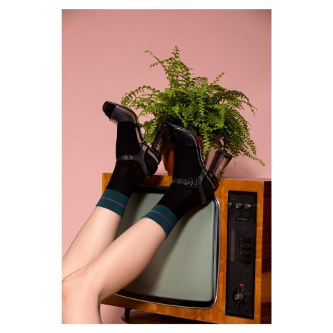 Černo-zelené silonkové ponožky Ina Gabriella