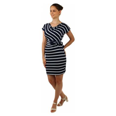 Pruhované šaty se zavinovacím efektem