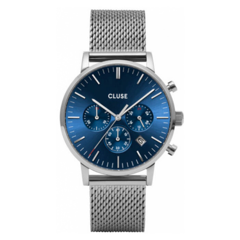 Cluse Aravis Chrono Mesh Blue, Silver Colour