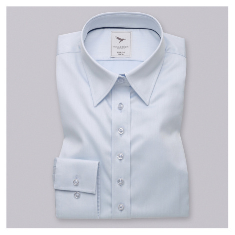 Dámská košile long size bledě modrá hladký vzor 10617 Willsoor