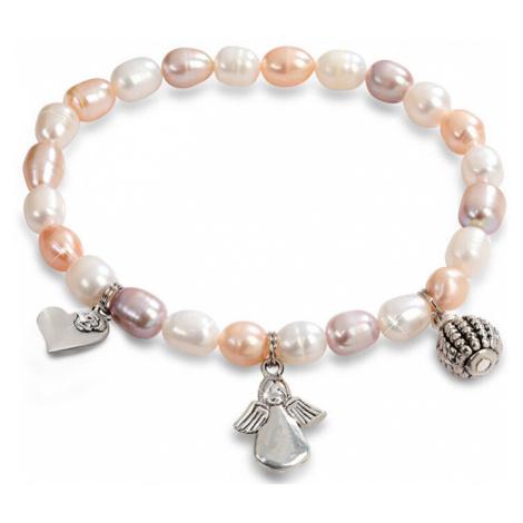 JwL Luxury Pearls Jemný náramek z pravých perel s ozdobami JL0295