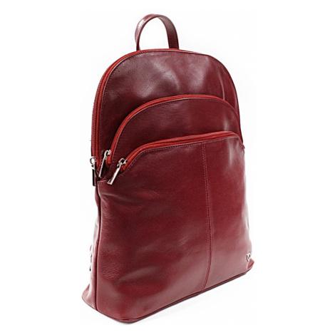 Červený kožený moderní batoh Poppy Arwel