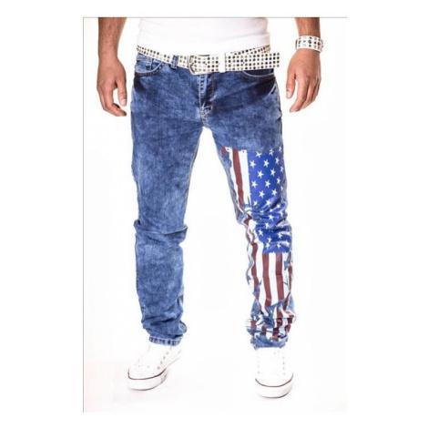 KC-1981 kalhoty pánské jeans 3130 vlajka USA