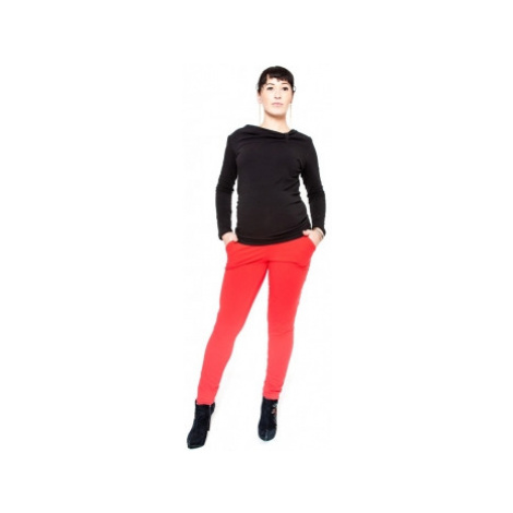 Těhotenské kalhoty Be MaaMaa - KALI červené, vel.