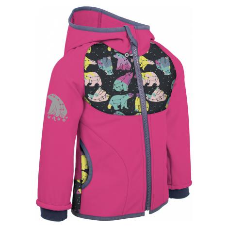 Dětská softshellová bunda s fleecem UNUO New souhvězdí medvěda fuchsiová ( NEW Unuo softshell ja