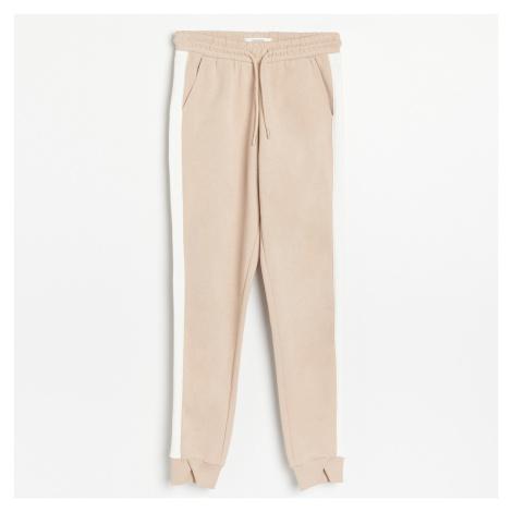 Reserved - Teplákové kalhoty s lampasem - Krémová