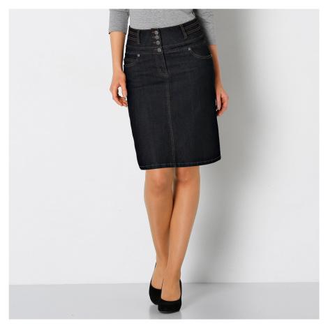 Blancheporte Džínová sukně s vysokým pasem černá