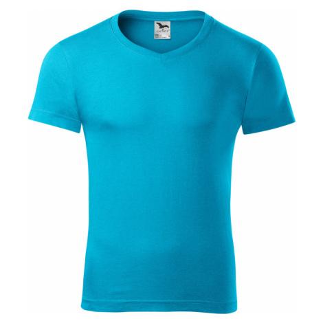 Malfini Slim fit V-NECK Pánské triko 14644 tyrkysová