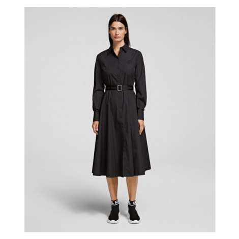 Šaty Karl Lagerfeld Poplin A-Line Shirt Dress - Černá