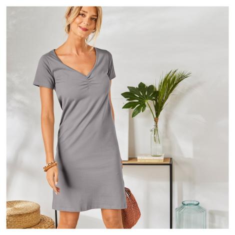 Blancheporte Jednobarevné šaty s krátkými rukávy šedá