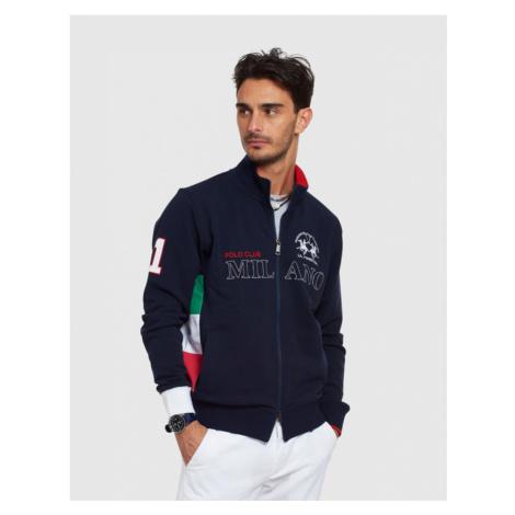 Mikina La Martina Man Fleece Half Zip Cotton Fle - Modrá