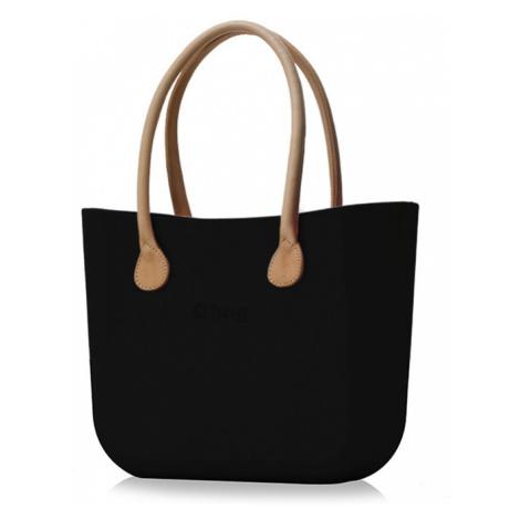 Kabelka obag černá s držadlem koženka natural O bag