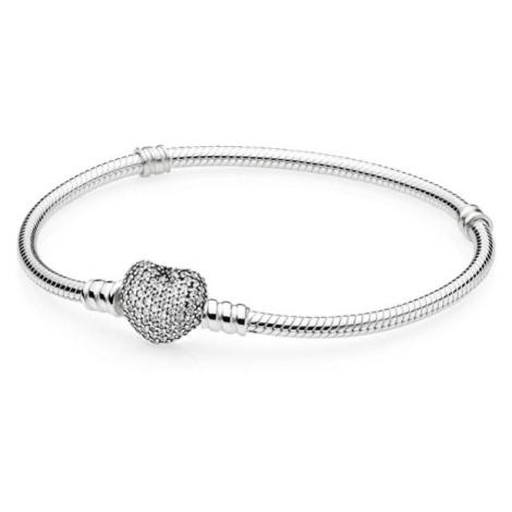 Pandora Stříbrný náramek s třpytícím srdcem 590727CZcm