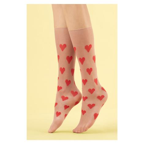 Telové vzorované ponožky Love Me 8DEN Fiore