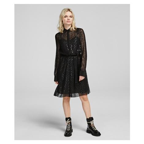 Šaty Karl Lagerfeld Leopard Jacquard Shirt Dress - Různobarevná