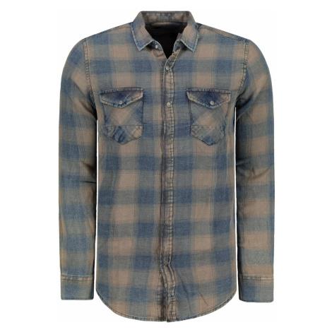 Trendyol Dark Blue Men's Regular Fit Plaid Denim Double Pocket Shirt