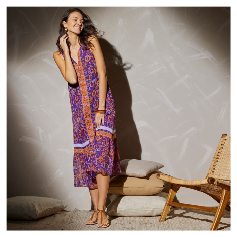 Blancheporte Dlouhé šaty s potiskem kašmíru purpurová/růžová
