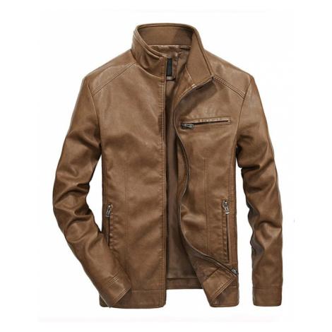 Koženková bunda pánská hladká větrovka z umělé kůže