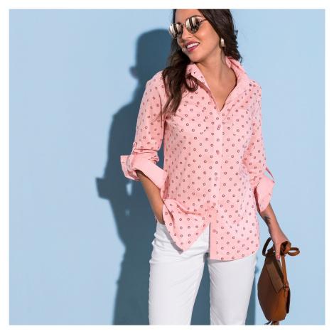 Blancheporte Dvoubarevná košile s potiskem a dlouhými rukávy růžová pudrová