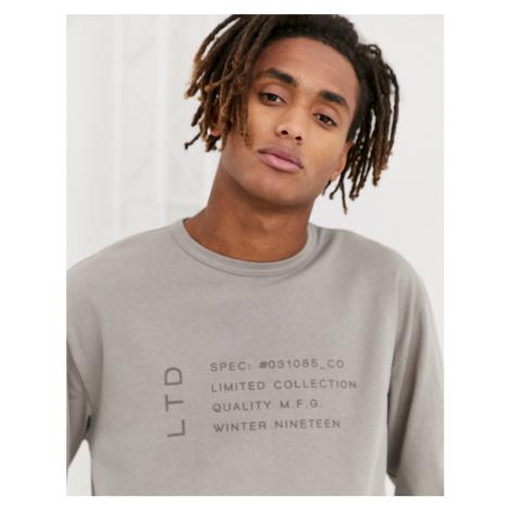 Topman LTD long sleeve t-shirt in grey