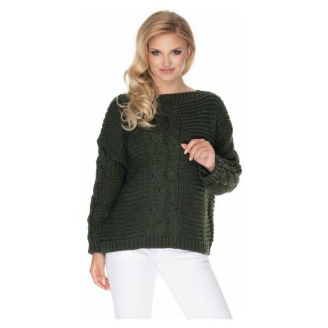 Pletený svetr vlněný oversize copánkový vzor dlouhý rukáv