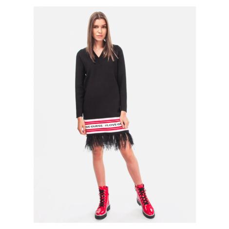Guess dámské černé šaty s peřím