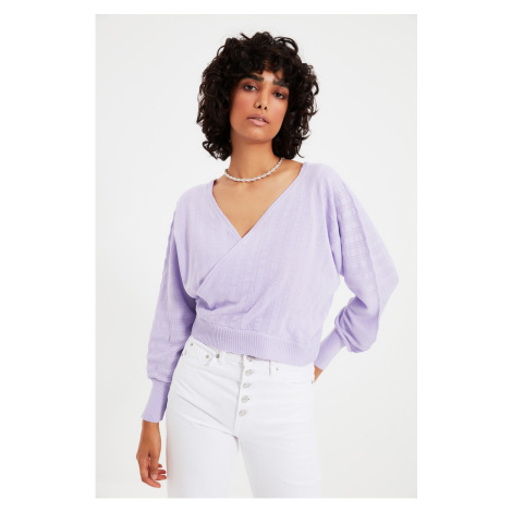 Trendyol Lilac Double Breasted Collar Knitwear Sweater