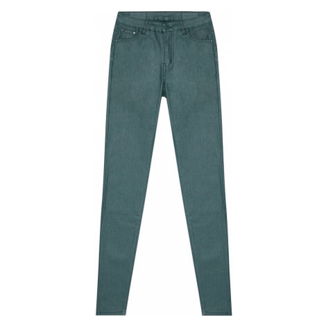 Waxed tube trousers - green Moodo