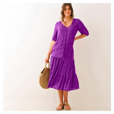 Blancheporte Krátká sukně se zlatým potiskem purpurová/zlatá