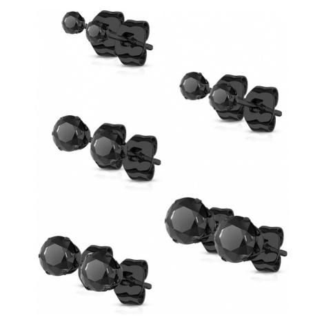 316Steel Klasické náušnice pecky z oceli Barva: Černá, Varianta: 4 mm