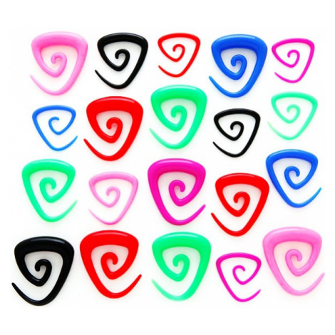 Expander do ucha - trojúhelníková spirálka - Tloušťka : 8 mm, Barva piercing: Fialová Šperky eshop