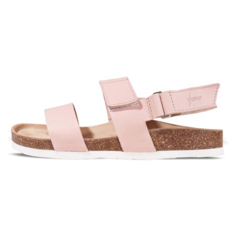 Vasky Sany Pink - Dámské kožené sandály růžové, česká výroba