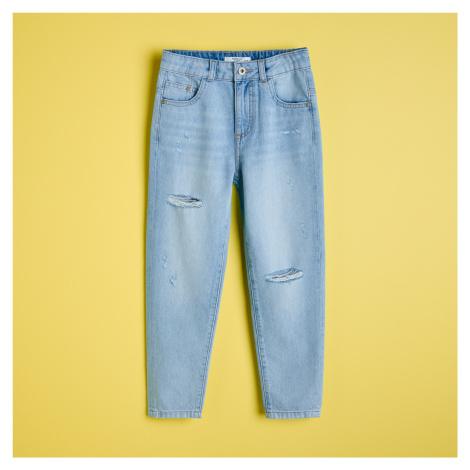 Reserved - Bavlněné džíny s ošoupáním - Modrá