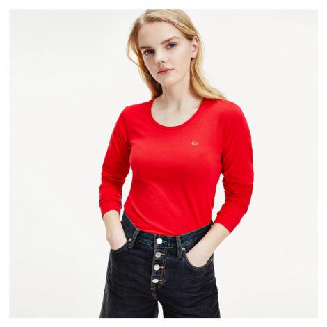 Tommy Jeans dámské červené tričko s dlouhým rukávem Jersey Tommy Hilfiger