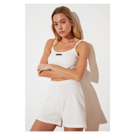 Trendyol White Knitted Shorts & Bermuda