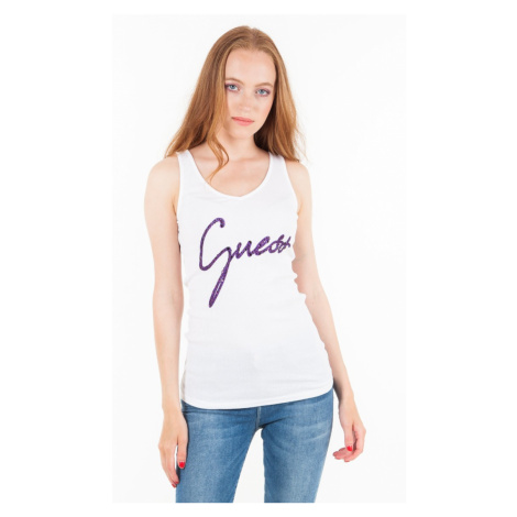 Guess GUESS dámské bílé tričko s kamínky na ramínka