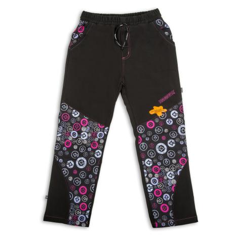 Dívčí softshellové kalhoty - NEVEREST FT6281c, černo- růžová