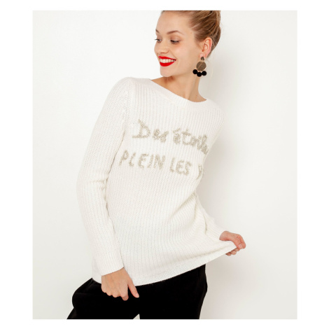 Bílý svetr s vánočním motivem CAMAIEU Camaïeu